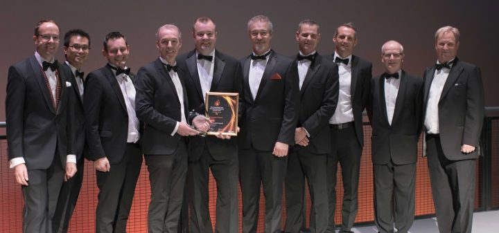 Gateshead Council and contractors acceoting the Visionary Project of the Year award